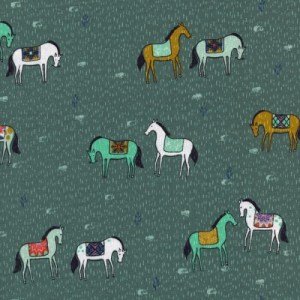 Horseback Green Honeymoon Collection by Sarah Watt's by Cotton and Steel