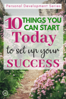 A background image showing a path through pink roses with 