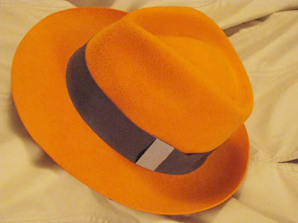 A gorgeous orange sherbet-colored French fedora made in Paris c6fc44fd7cf