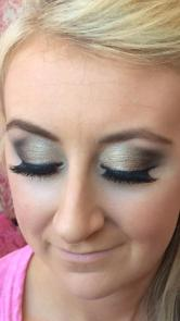 Massive lashes and shimmery eyeshadow