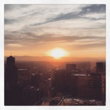 The sun sets over the Rocky Mountains during the Admission Team's trip to Denver.
