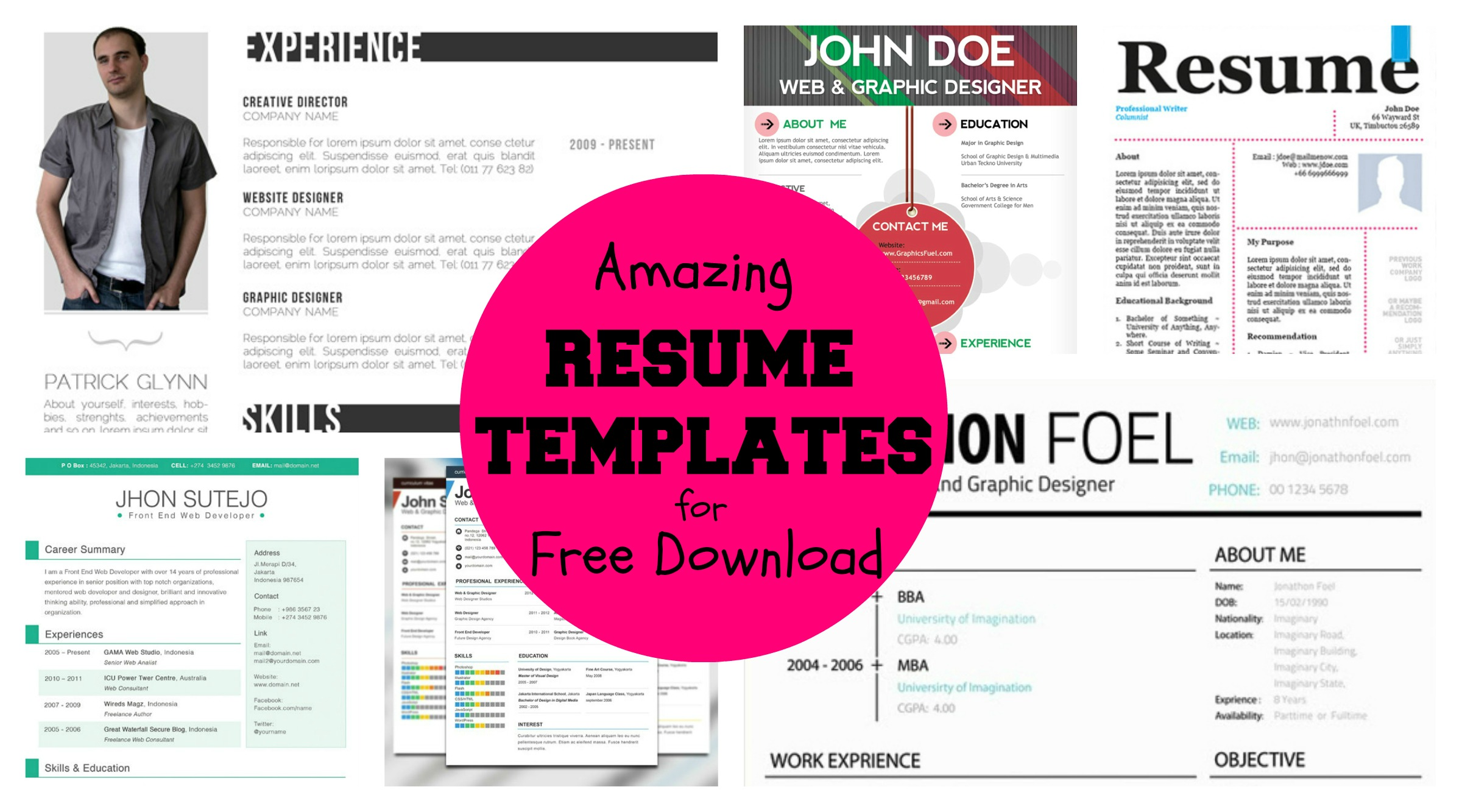 Trendy Resumes Free Download 20 43 Awesome Designer Resume Templates For Free Download