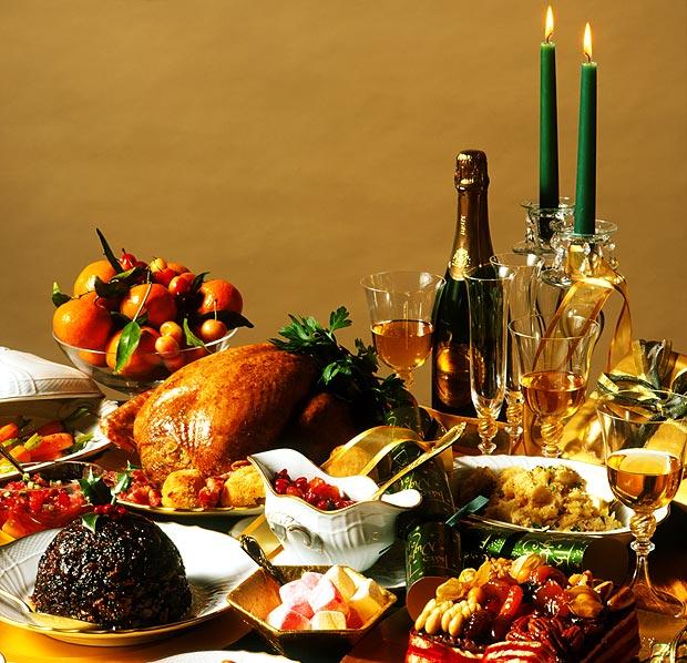 christmas table with food