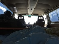 My dad woke up early and started driving. I laid in bed for a while. Perks of van living.