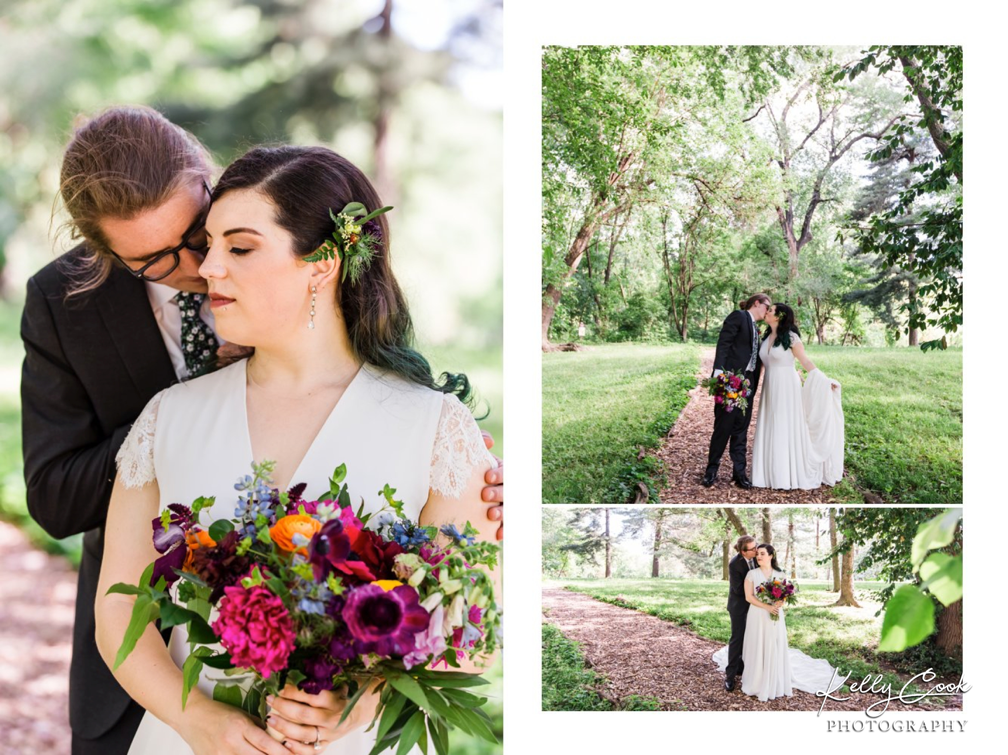 Candid wedding photos of a bride and groom in Tower Grove Park in St. Louis