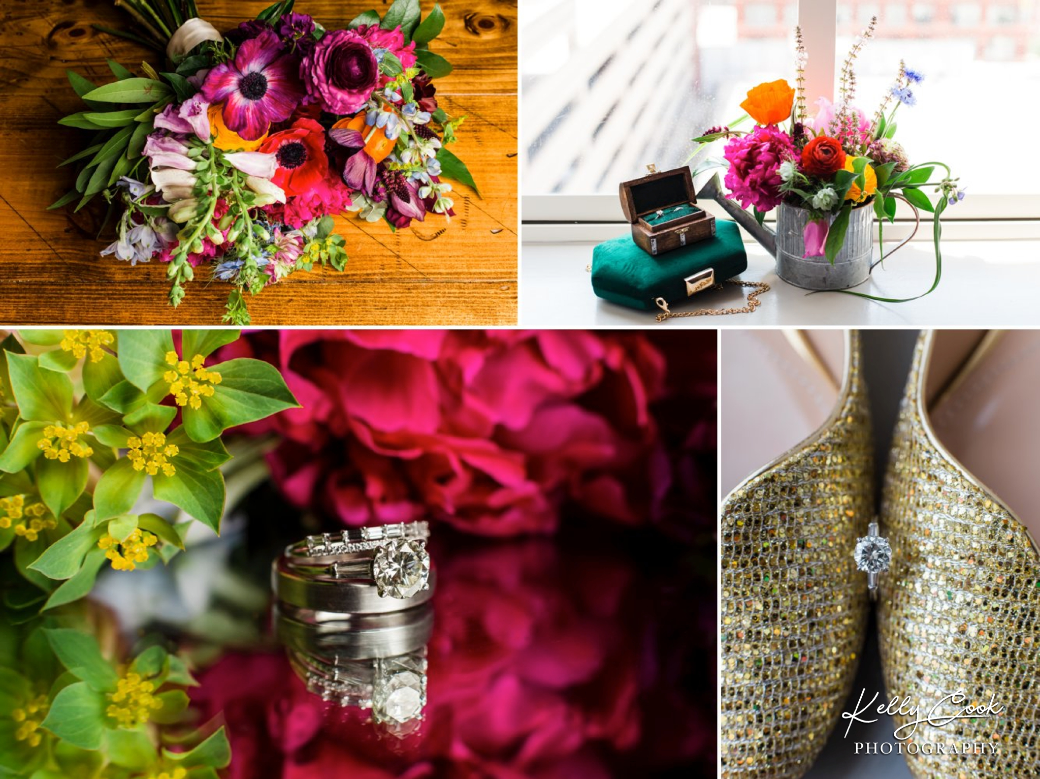 Colorful wedding details and flowers