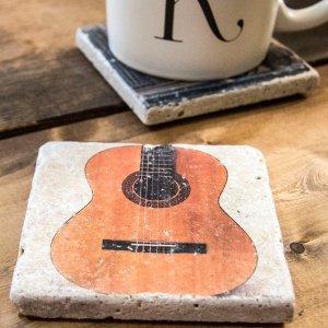 Guitar on White Coaster by Kelly Cushing