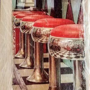 Vintage Diner Stools Wall Decor