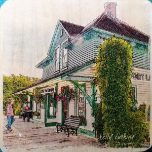 Fort Langley Train Station Coaster by Kelly Cushing