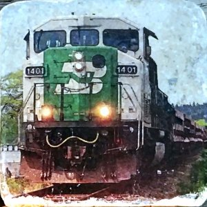 White Rock Train Coaster by Kelly Cushing