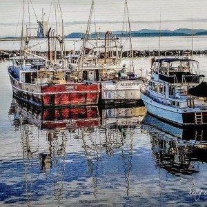Boats at Steveston Pier on Canvas