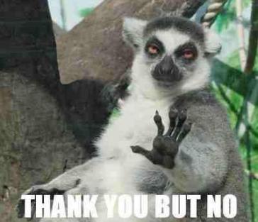 meme of lemur holding up paw, saying thank you but no