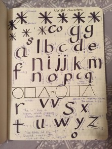 My first attempts at upright lowercase letters as I followed along with Prof. Inciong