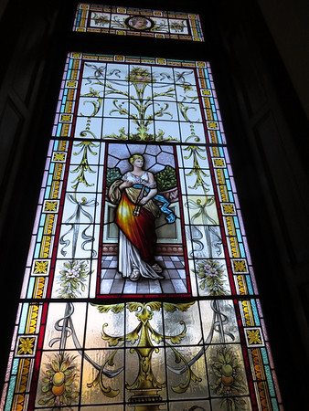 Stained glass window on the staircase of the Rose Mansion