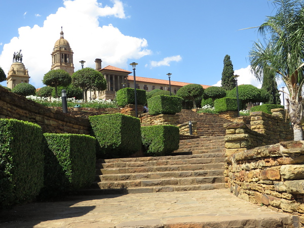 Steps leading up from the gardens to the Union Buildings