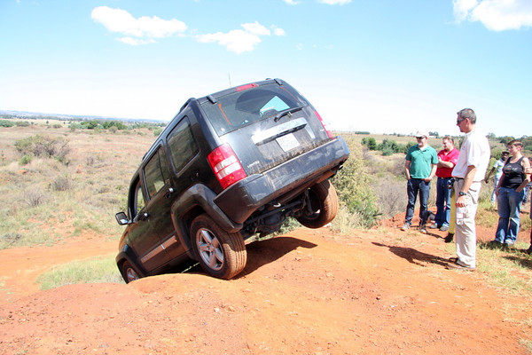 The Jeep going over the edge on 1.67 wheels.  I thought she was going over.