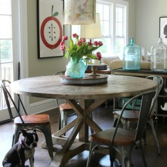 Farmhouse Kitchen Tables Cabinets Omaha Rustic Wood Dining Table Love This Round And Industrial Chairs Kellyelko Com