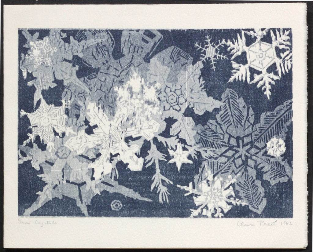 "Pratt, E.J. Snowfall on a Battlefield. One-quarto Christmas greeting card. Verso illustrated with a wood engraving entitled ""Snow Crystals"" by Claire Pratt, titled, signed and dated. Inscribed: Christmas greetings 