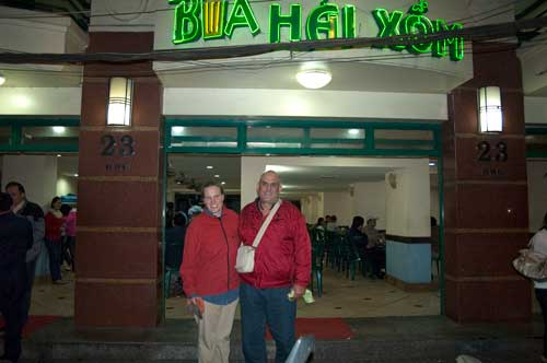 Sue and Peter in front of the Bai Hoi Xom