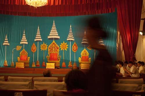 stage for Pha Lak Pha Lam performance, Luang Prabang, Laos