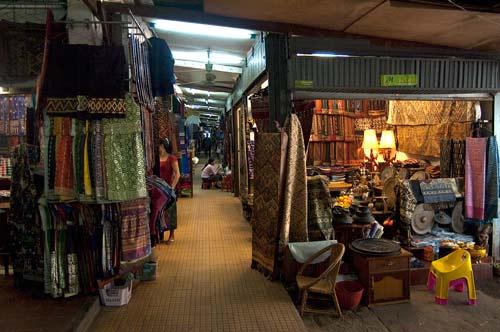 fabric aisle at Morning Market, Vientiane, Laos