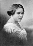 "Madam C.J. Walker: ""I am not merely satisfied in making money for myself, for I am endeavoring to provide employment for hundreds of women of my race. ... I want to say to every Negro woman present, don't sit down and wait for the opportunities to come. Get up and make them!"""