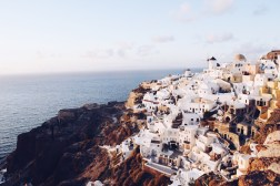 The beautiful cliffside at Oia during Sunset
