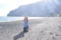 At Kamari, the black sand beach!