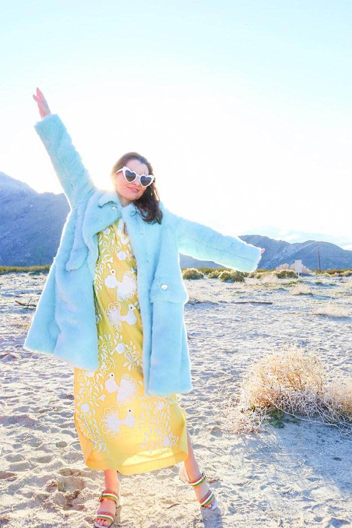 Blue Faux Fur Coat | Kelly Golightly