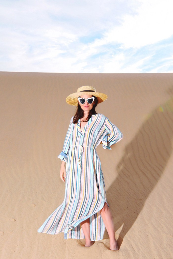 Splendid x Gray Malin Striped Caftan at Glamis Sand Dunes| Kelly Golightly