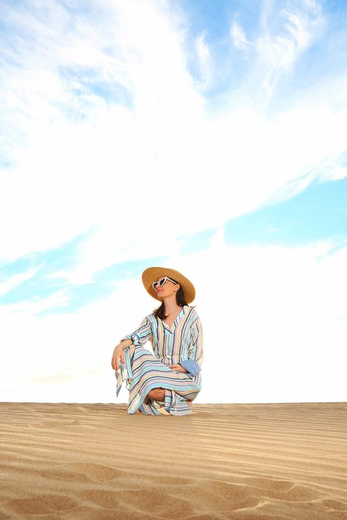 Splendid x Gray Malin Striped Caftan at Glamis Sand Dunes| Kelly Golightly