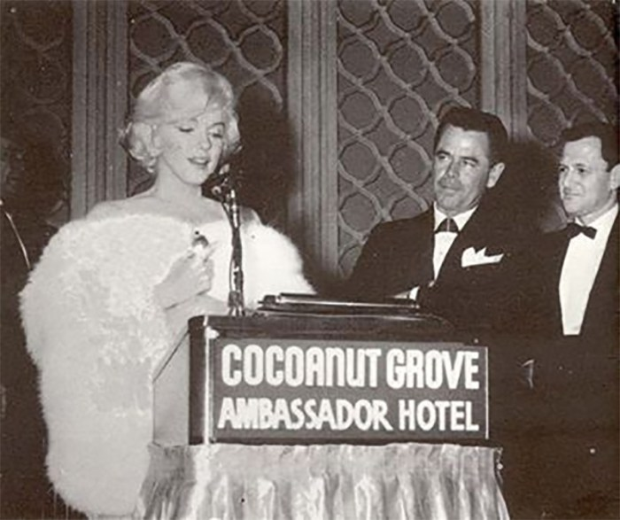 "Marilyn Monroe gives her GOLDEN GLOBE acceptance speech for Best Actress in ""Some Like It Hot"" at the Ambassador Hotel's Cocoanut Grove."