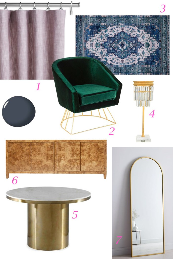 Chic Office Makeover Moodboard | Kelly Golightly x One Room Challenge