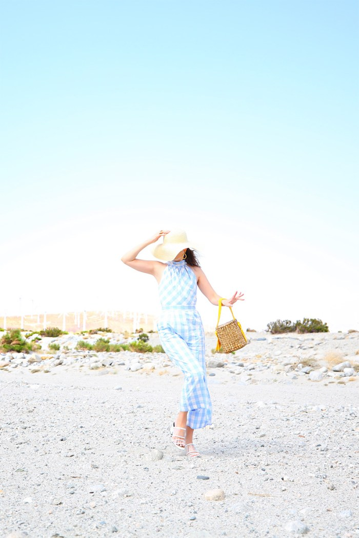 How To Style a Gingham Jumpsuit + Basket bag | Kelly Golightly
