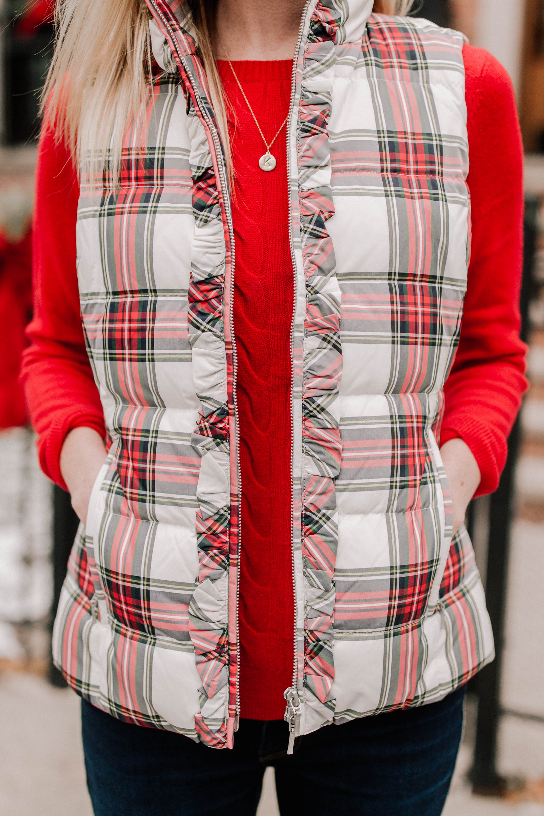 Stewart Plaid Puffer Vest  Kelly in the City
