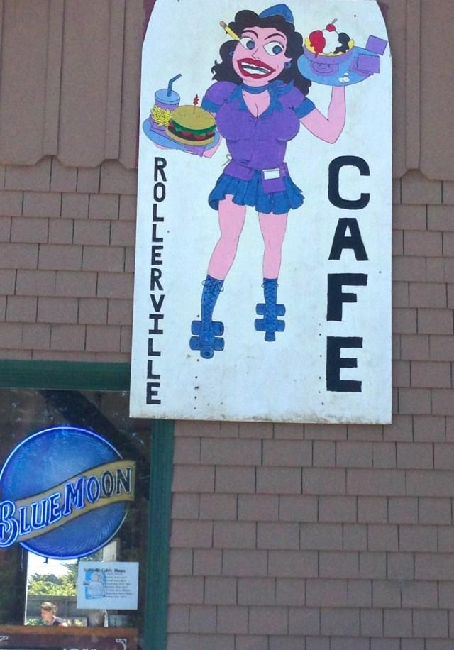 sign for Rollerville Cafe