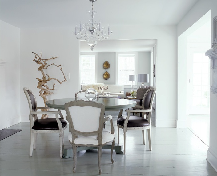 White dining room louis xvi brown leather chairs round table rustic