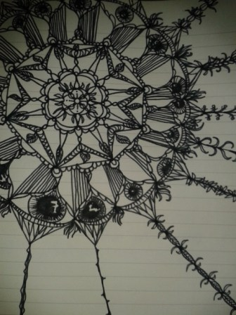 black ink mandala eye drawing adrawingaday project