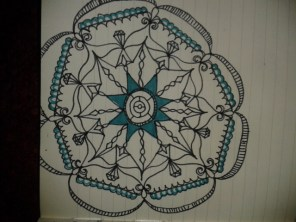 green black ink moleskine mandala drawing