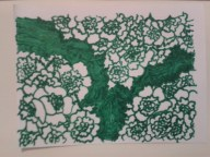 green ink floral sticker drawing