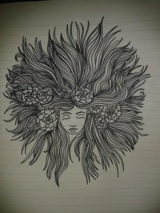 carnations hair black ink drawing moleskine