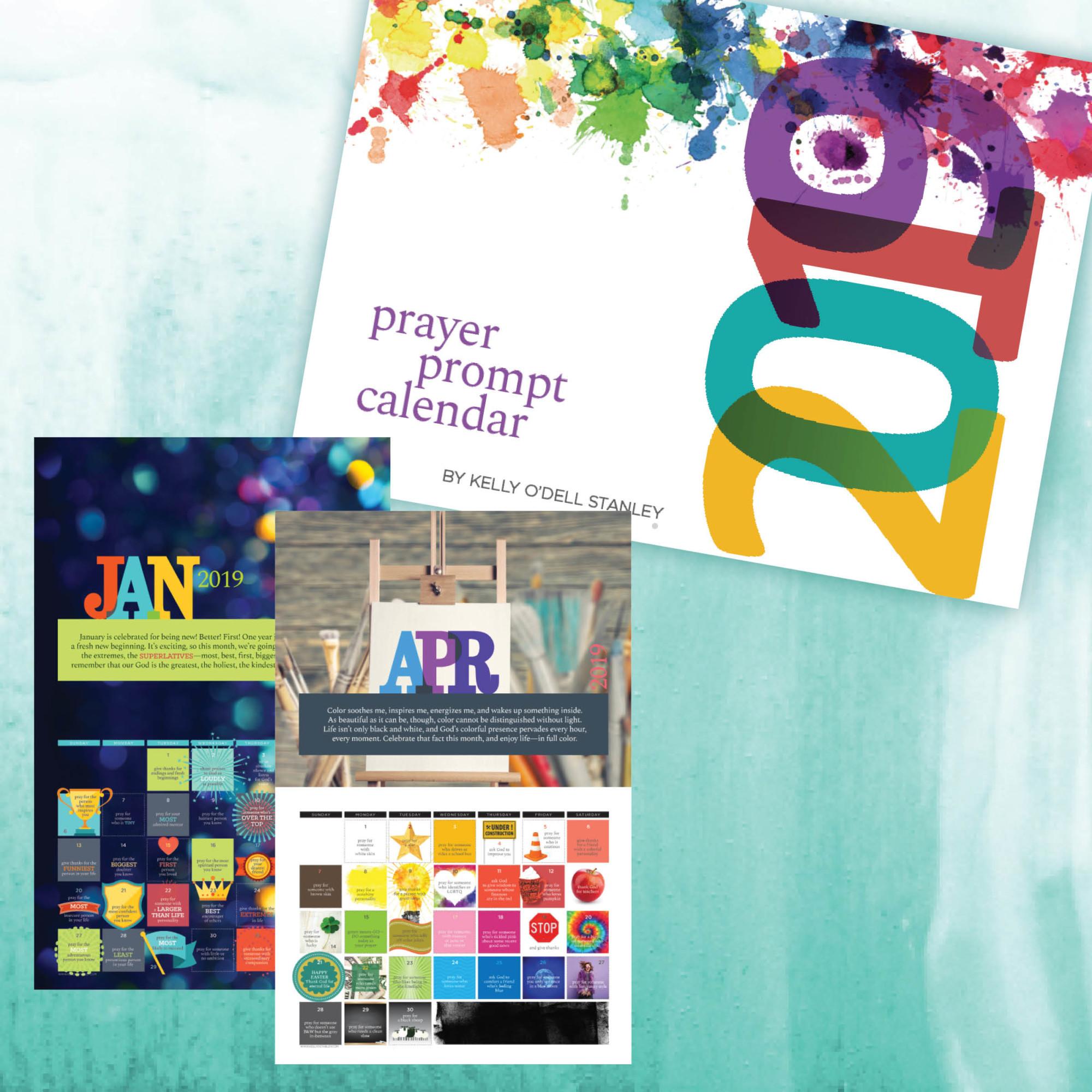 image regarding Printable Monthly Prayer Calendar titled 2019 Wall Calendar CLEARANCE - Kelly ODell Stanley