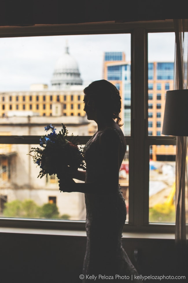 Silhouette bride photo at Madison wedding