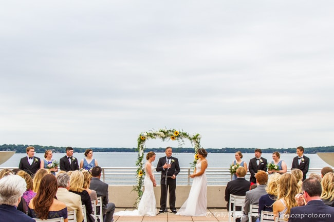 Photography of wedding ceremony on the lake at Monona Terrace