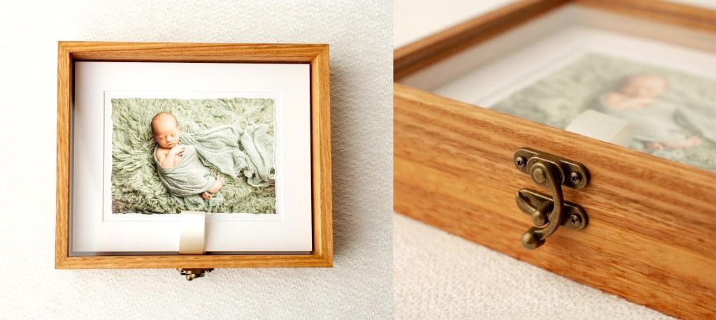 Bamboo box to display newborn photography