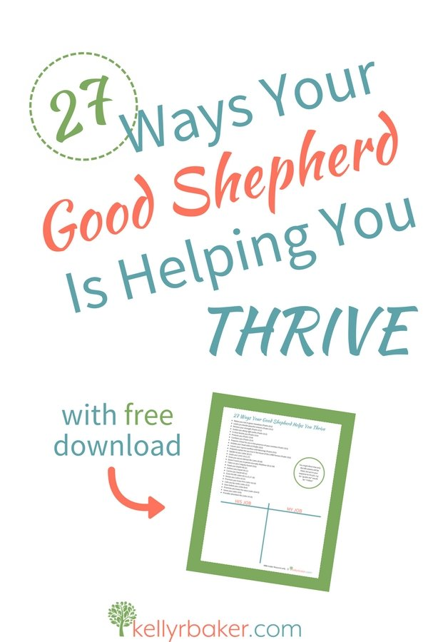 "Jesus told us in John 10 that He is our Good Shepherd. It's more than a depiction, He said ""I AM,"" as in it's an existing promise. In this post, you will see 27 ways your Good Shepherd guarantees you're thriving. May any doubt of it be dispelled. #GoodShepherd #sheep #ThrivingInChrist #bible #comfort #Jesus #encouragement #iamtheshepherd #jesusthegoodshepherd #goodshepherdverse #printable #thelordismyshepherd"