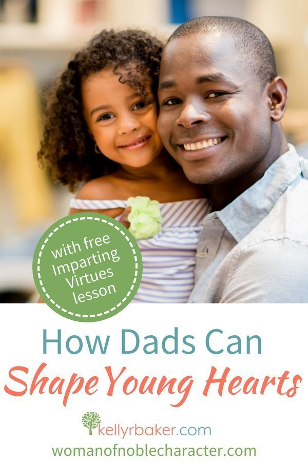 The average dad can influence their children to shape their hearts toward God. Here's a framework to build upon when imparting virtues into your kids. #ThrivingInChrist #ImpartingVirtues #kids #dads #family #children #teachingkids #Bible