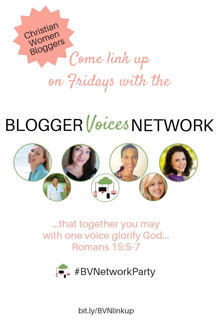 "Women bloggers of Christian faith are welcome to link up their faith based post on Friday's at the Blogger Voices Network link up. BVN is for Christian women. Our heart is to ""with one voice glorify God"" (Romans 15:5-7) while we practice contentment and collaborate together. Interested? We'd love for you to join us. #network #linkup #faith #networking #contentment #interviews #collaboration #womeninministry #blogger #networkingideas #thrivinginchrist #women #networktips #community #Christian"