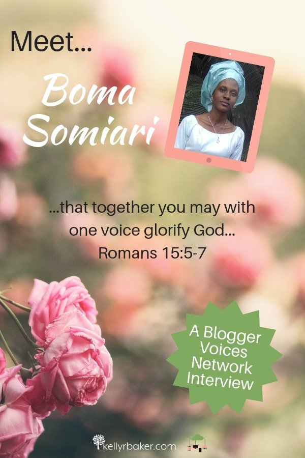 We hope you enjoy getting to know Boma Somiari on this Blogger Voices Network member interview! Be blessed by her wisdom and encouragement today! #BloggerVoicesNetwork #BVNetworkParty #ThrivingInChrist #TheAprilJournal #interview #blogger #wisdom #spiritualgrowth #Christian #blog