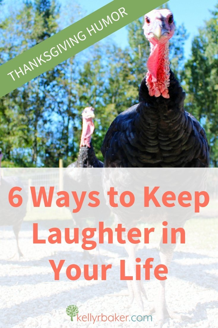 Want some Thanksgiving humor? Don't get bogged down with holiday stress; keep laughter in your life. Here are six ways. #laughter #humor #Thanksgiving #jokes #memes #quotes #thankful #laugh #cleancomedy #ThrivingInChrist